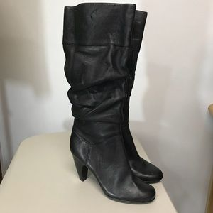 """Sofft Black Slouch Knee High Boots with 16"""" Zipper"""